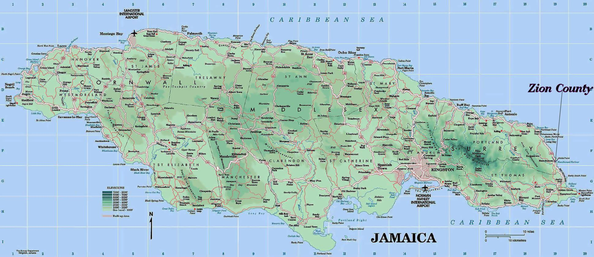 Fysisk Kort Af Jamaica Fysisk Kort Af Jamaica Som Viser Bjerge