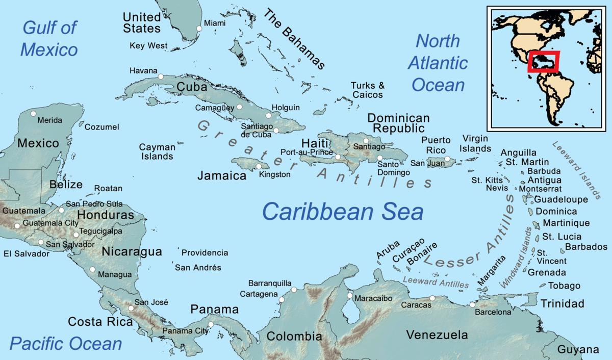 Jamaica Caribbean Kort Jamaica Pa Kort I Vestindien Caribien